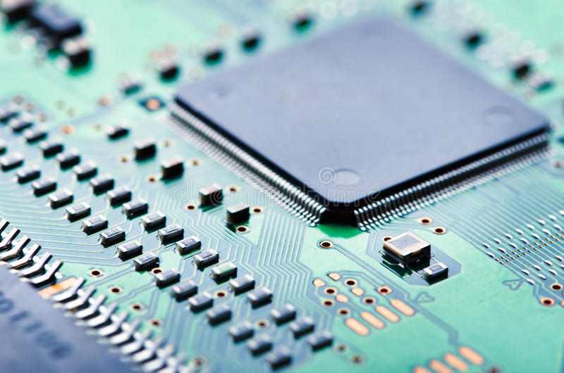 Computer Chip And Circuit Board Royalty Free Stock Image