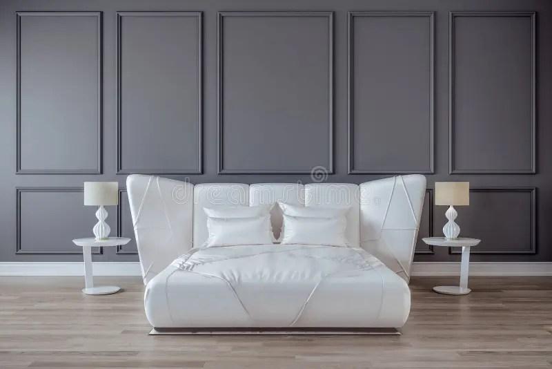 lit blanc de satin mur gris plancher