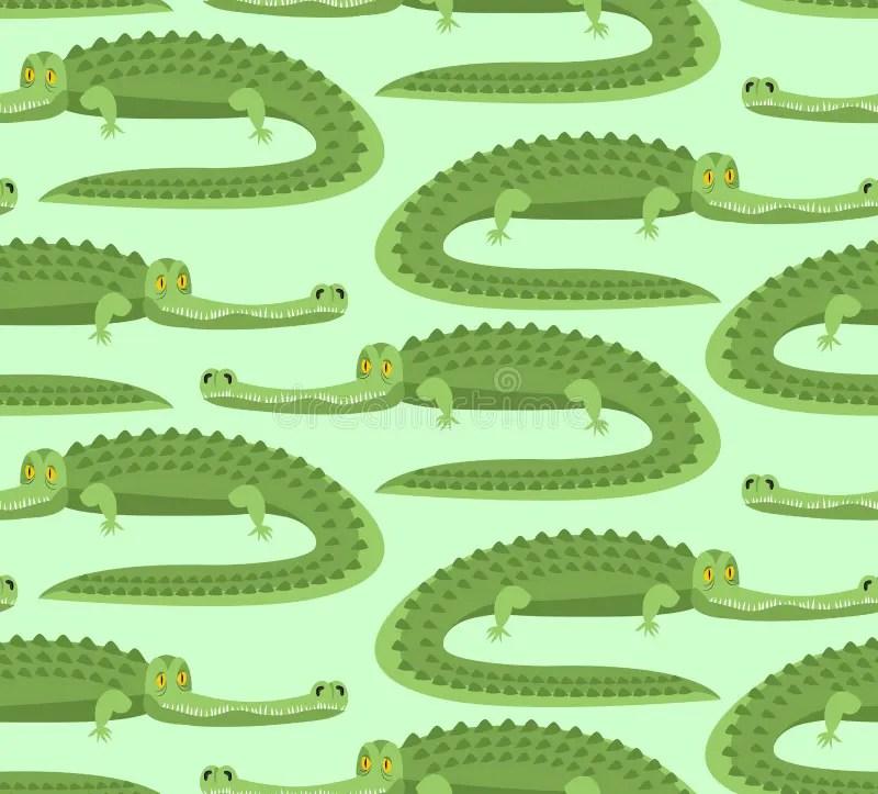 Crocodile Seamless Pattern Good Caiman Ornament Wild Animal G Stock Vector Illustration Of