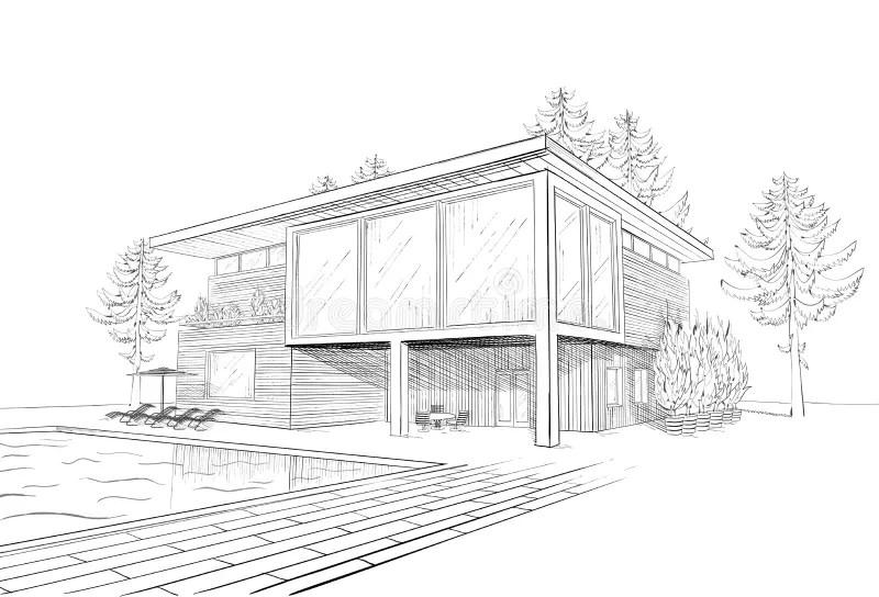 Croquis De Vecteur De Maison Moderne Avec La Piscine Illustration De Vecteur Illustration Du Sapin Ingenierie 26613320
