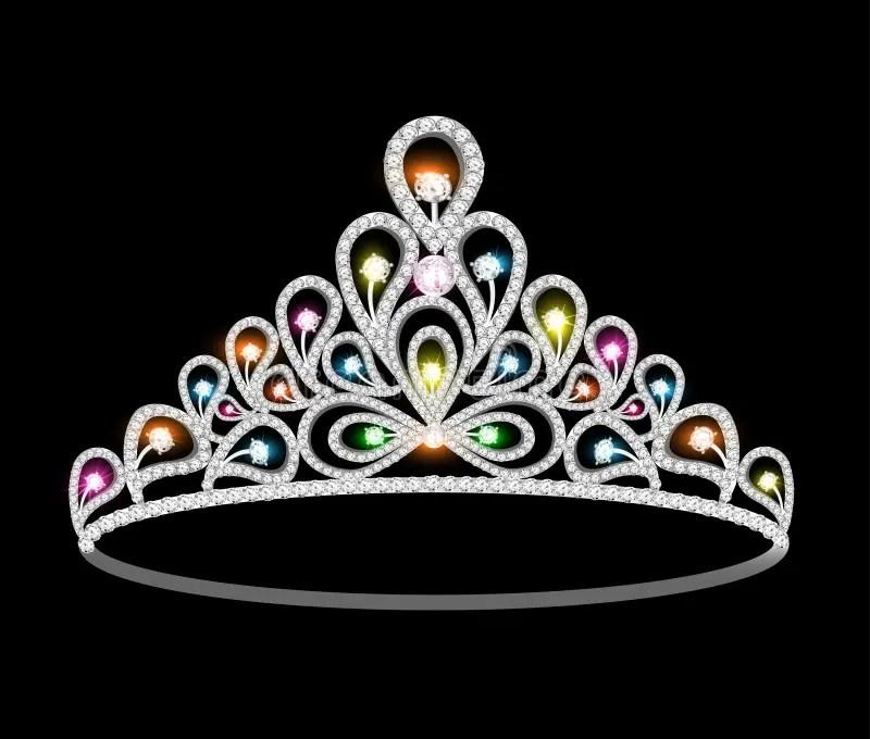 Crown Tiara Women With Glittering Precious Stones Stock