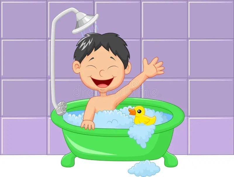Clean Bathroom Cartoon Boy