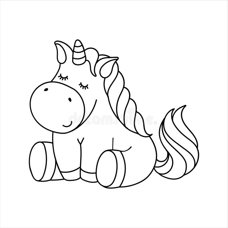 Cute Cartoon Fairytale Unicorn Coloring Page For Kids Stock Vector Illustration Of Book Character 170202362