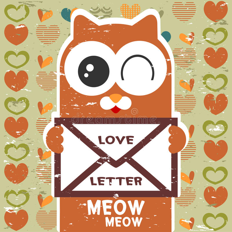 Download Cute Cat Holding A Love Letter Stock Vector - Illustration ...