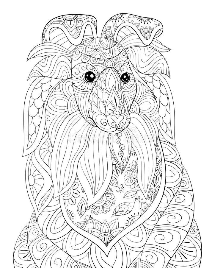 Adult coloring page cute dog relaxingzen art style, dog coloring pages