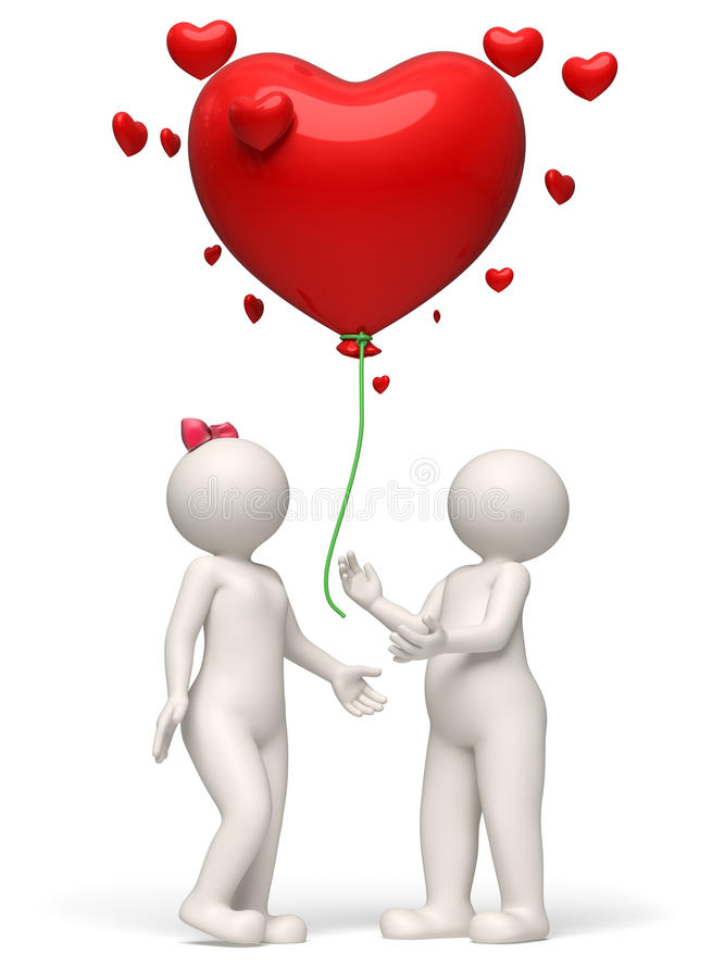 Download 3d Couple Releasing A Red Heart Balloon Valentines Day ...