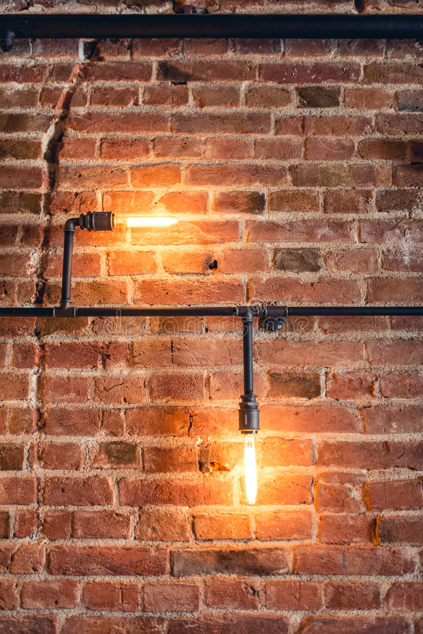 Decoration Walls With Lamps Pipes And Bricks Old And Vintage Looking Wall Interior Design