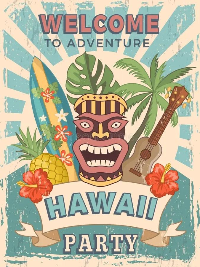 Design Template Of Retro Poster Invitation For Hawaiian