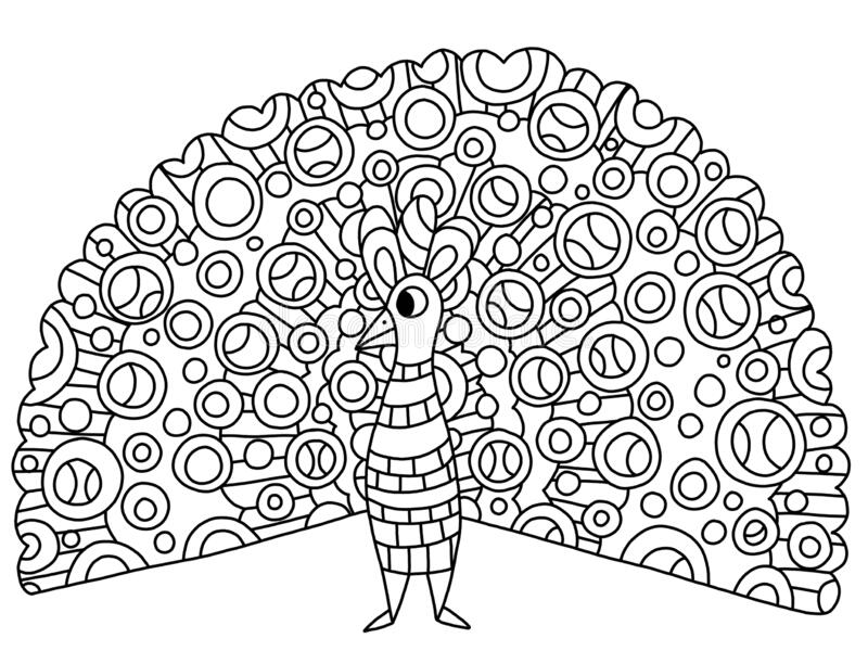Peacock Coloring Page Stock Illustration Illustration Of Educational 50448518