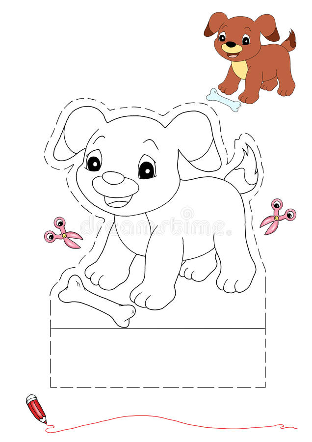 Dog To Be Color And To Cut Out Stock Illustration Illustration Of White Game 17000265