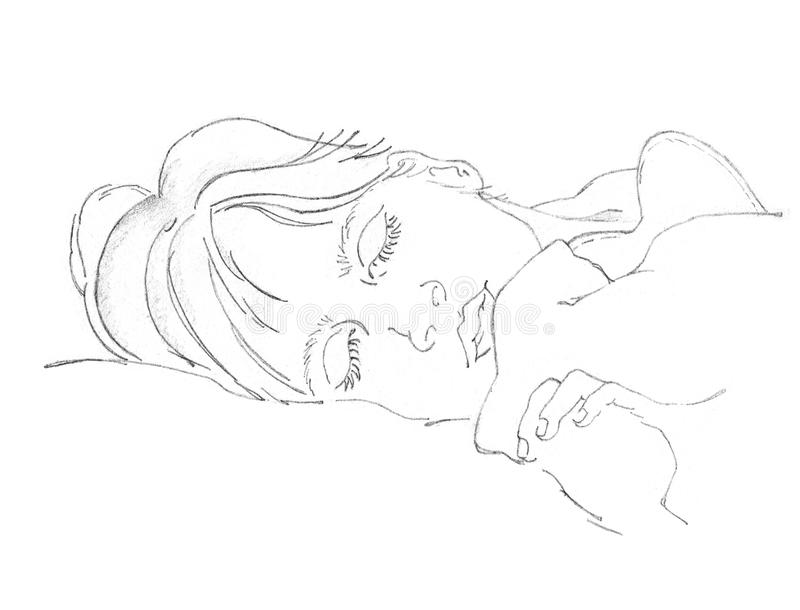 drawing sleeping person stock