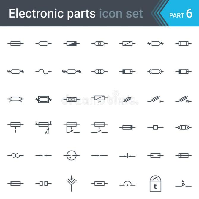 electric and electronic circuit diagram symbols set of fuses