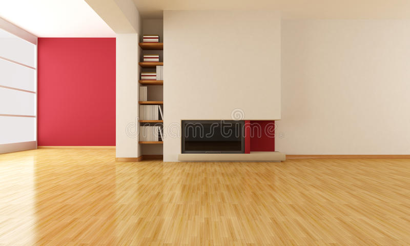 Empty Living Room With Minimalist Fireplace Stock Illustration Illustration Of Style Parquet