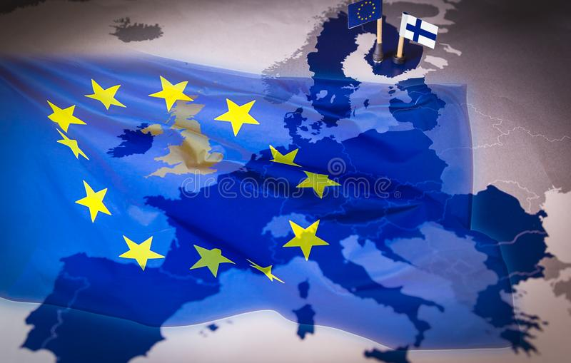 EU And Finland Flags Over An European Union Map Stock Image   Image     Download EU And Finland Flags Over An European Union Map Stock Image    Image of rotatory