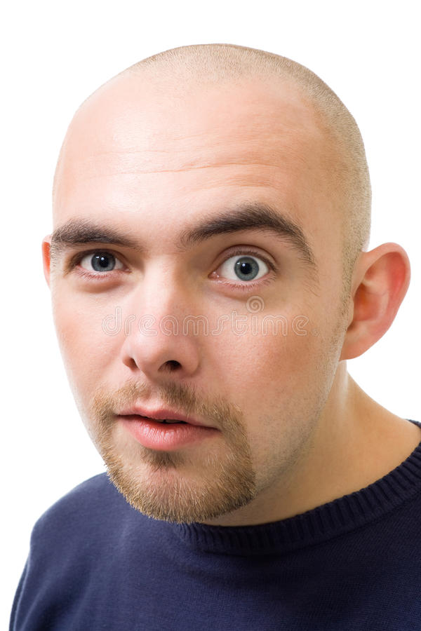 Face Of Mistrustful Bold Man Stock Image Image Of