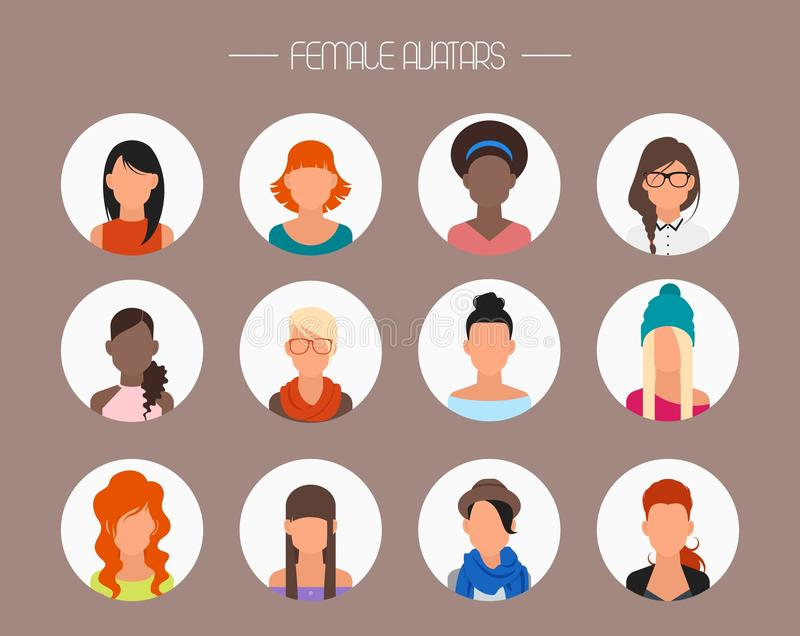 Female Avatar Icons Vector Set People Characters Stock