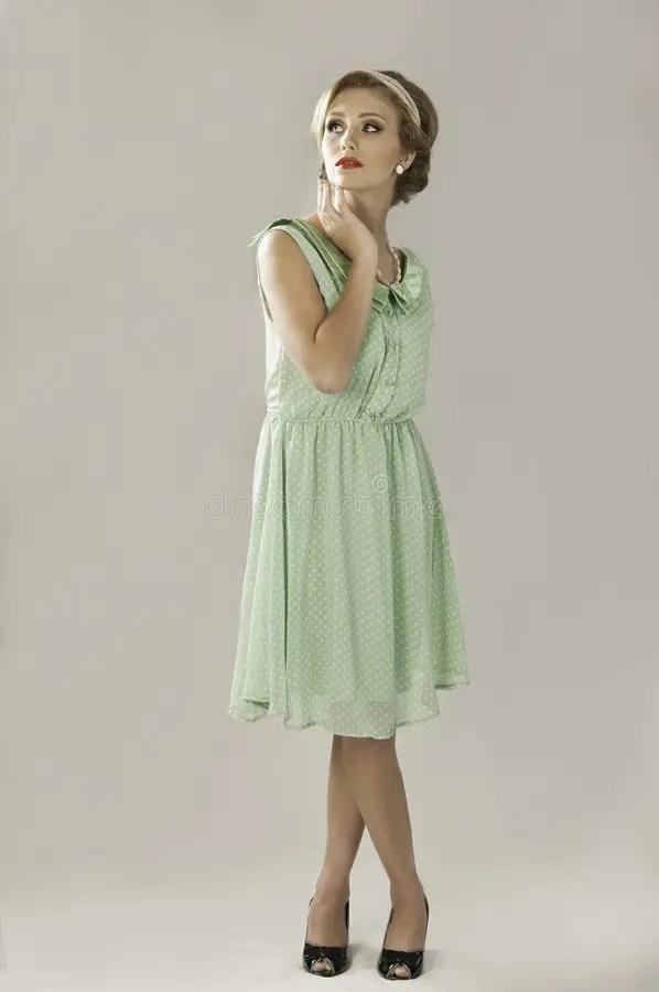 Fifties Woman In Green Dress Stock Photo Image 58016626