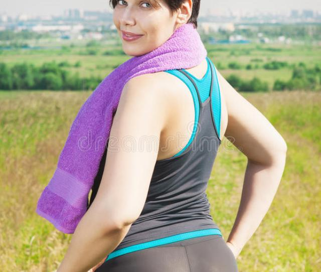 Download Fitness Plus Size Woman With Towel Stock Photo Image Of Looking Meadow