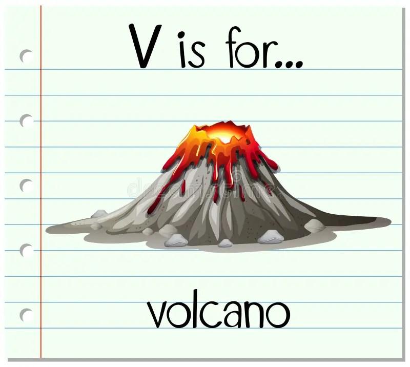Flashcard Letter V Is For Volcano Stock Vector