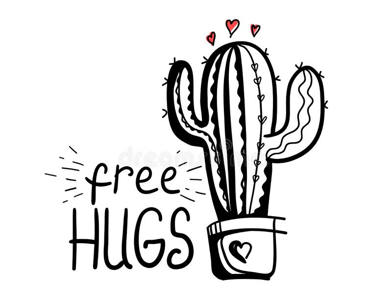 Download Free Hugs. Cactus Love Silhouette. Vector Hand Drawn ...
