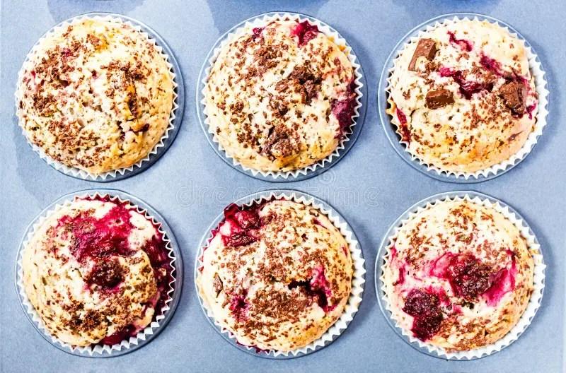Fresh Muffins In Paper Cupcake Holder In Baking Pan