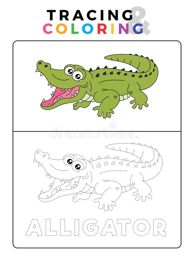 Funny Alligator Crocodile Animal Tracing Book With Example Preschool Worksheet For Practicing