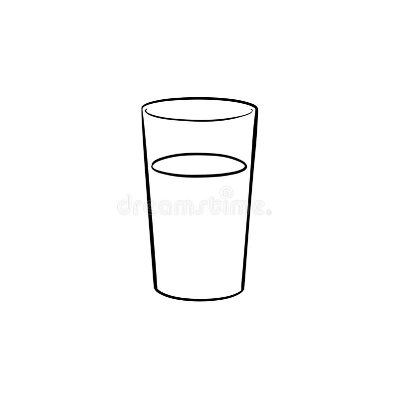 glass of water hand drawn sketch icon