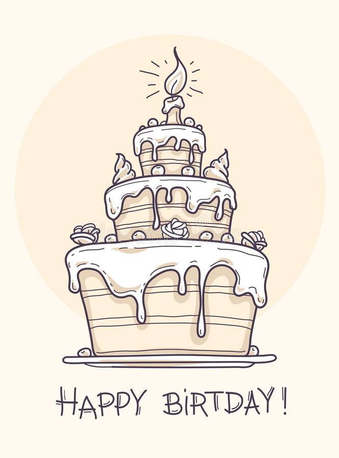 Greeting Card With Big Birthday Cake Stock Vector Image