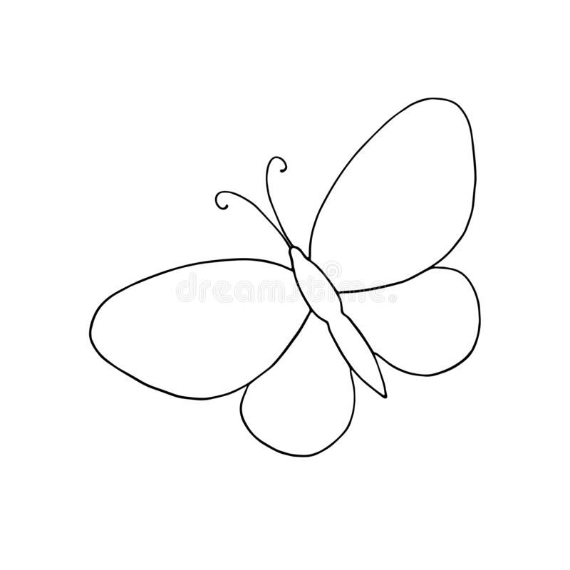 A Hand Drawn Butterfly Simple Vector Outline Illustration Drawing In Doodle Style Symbol Of Summer And Nature Stock Vector Illustration Of Design Environment 169125350