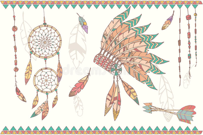 Hand Drawn Native American Dream Catcher Beads And Feathers Stock Photo Image 53576083