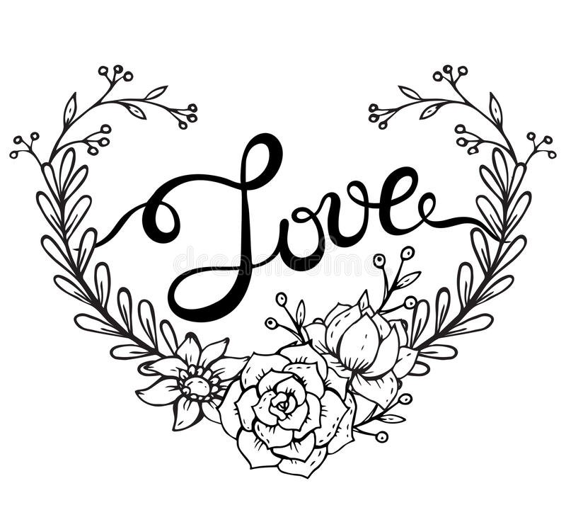Download Hand Lettering Word Love With Floral Wreath In Heart Form ...