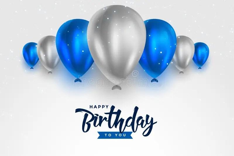 Happy Birthday Blue And Silver White Shiny Balloons Background Stock Vector Illustration Of Birth Enjoy 192182144