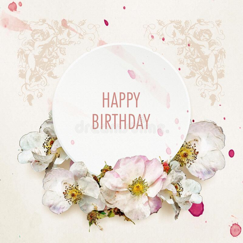 Happy Birthday Card With Roses On Watercolor Background Stock Illustration Illustration Of Christening Blooming 184350180