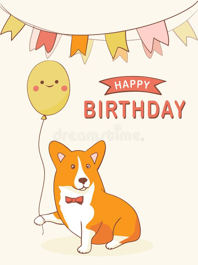 Happy Birthday Greeting Card With Cartoon Character Welsh Corgi Stock Vector Illustration Of Isolated Love 188886811