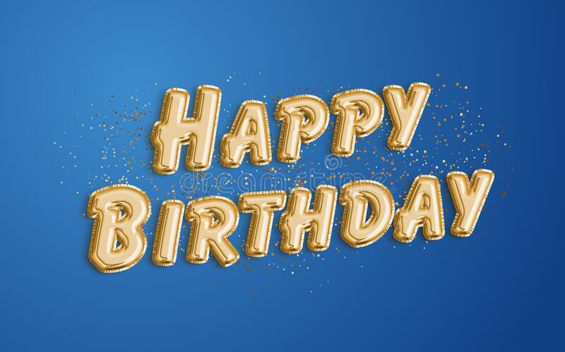 Happy Birthday Made Of Balloon Letters On Blue Background Stock Illustration Illustration Of Greeting Foil 172004707
