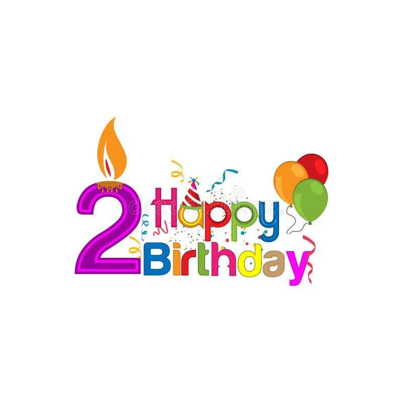 Happy Birthday Vector Design With Number Two For A Two Year Old Child Stock Vector Illustration Of Greeting Friends 110592175