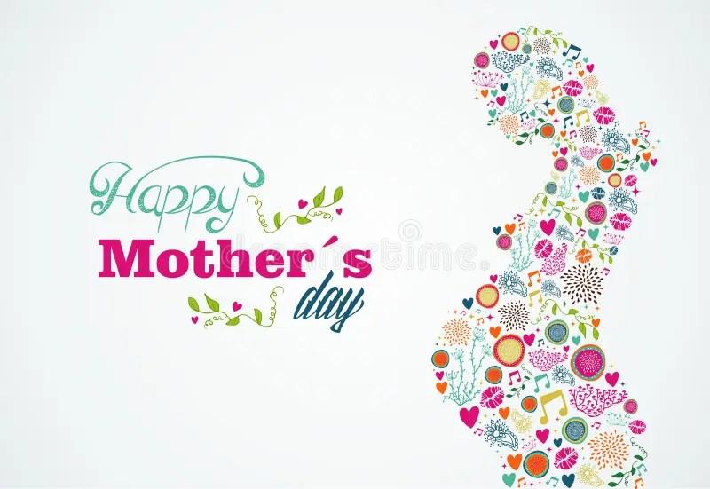 Happy Mothers Silhouette Pregnant Woman Illustrati Stock