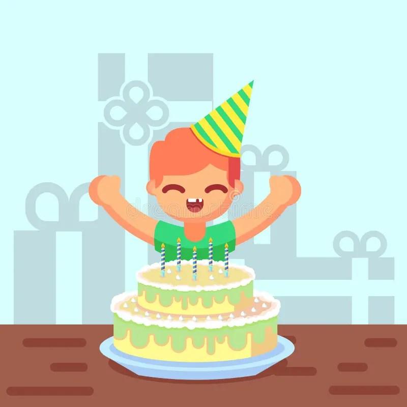 Happy Sweet Cute Cartoon Boy With Birthday Cake Stock