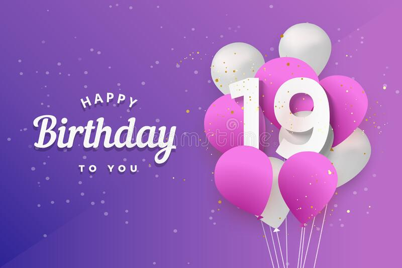 Happy 19th Birthday Balloons Greeting Card Background Stock Vector Illustration Of Congrats White 200319159