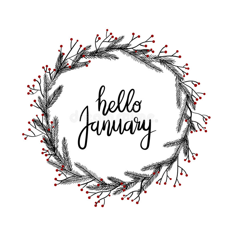 Hello January Hand Lettering Greeting Card Modern