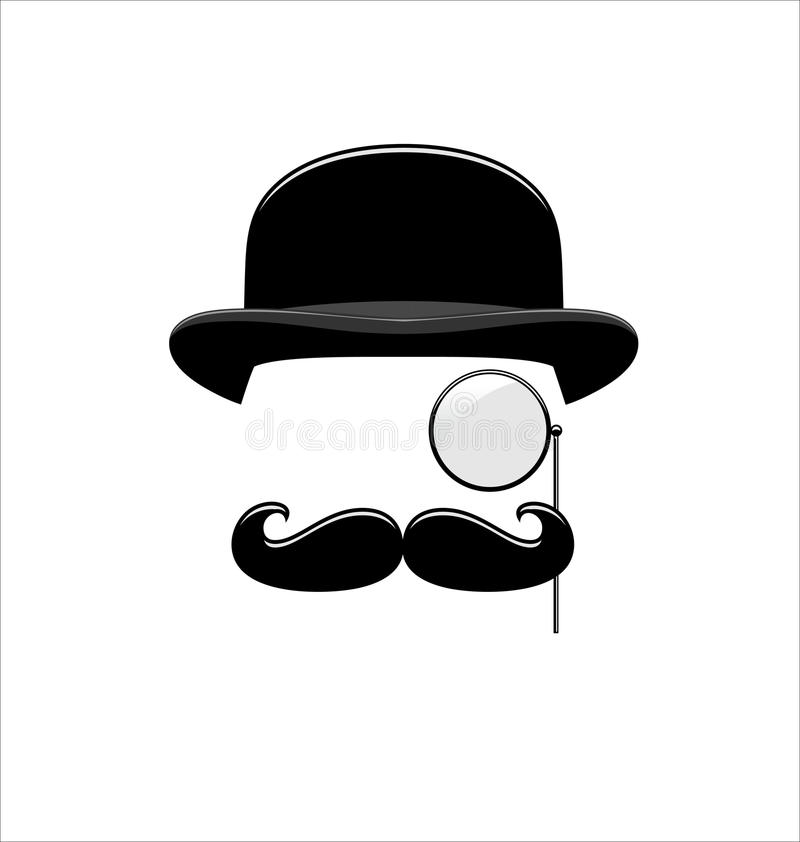 Hipster Black And White Monocle Mustaches Hat Stock