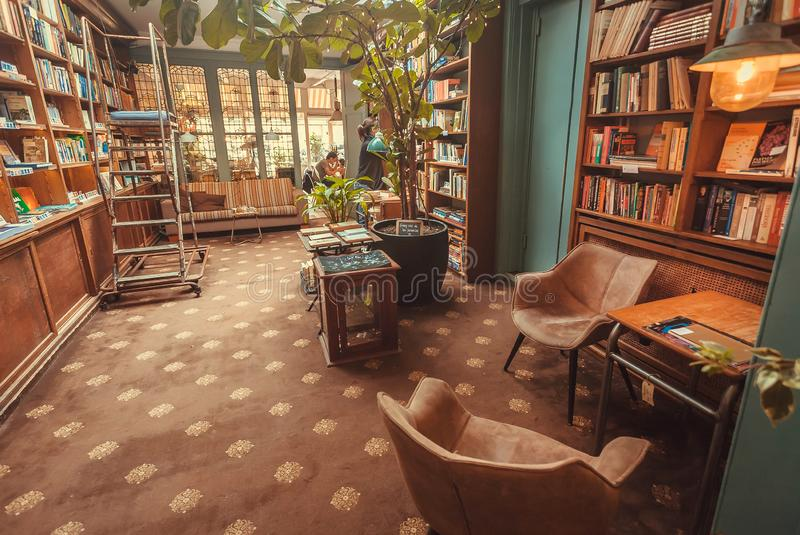 Coffee Bar And Bookcase In Rome Editorial Stock Photo