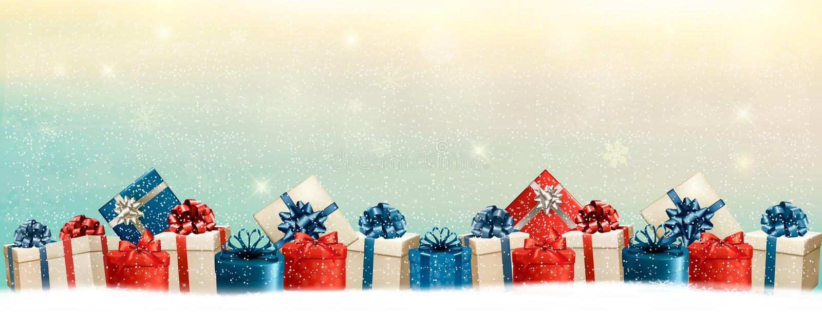 Holiday Christmas Background With A Border Of Gift Boxes