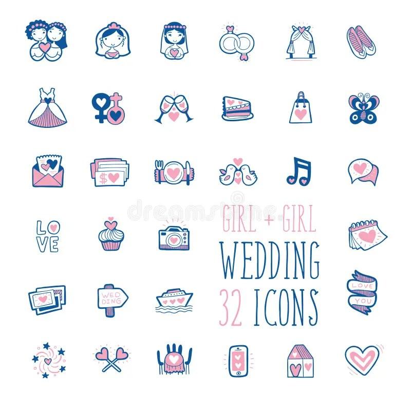 homosexual girls wedding doodle icons