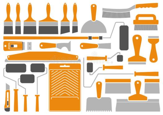 House Painting Tools And Equipment Stock Vector Image 57863621
