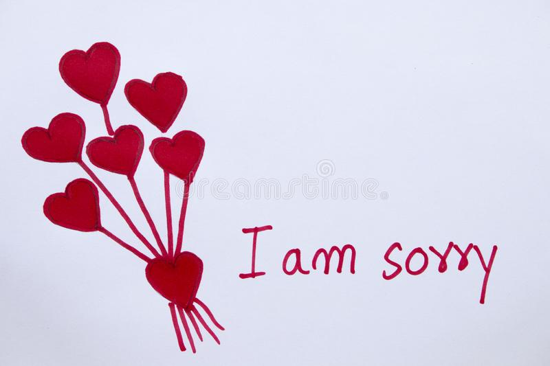 I Am Sorry Message Card With Draw Red Heart Stock Image - Image of miss,  excuse: 136061727
