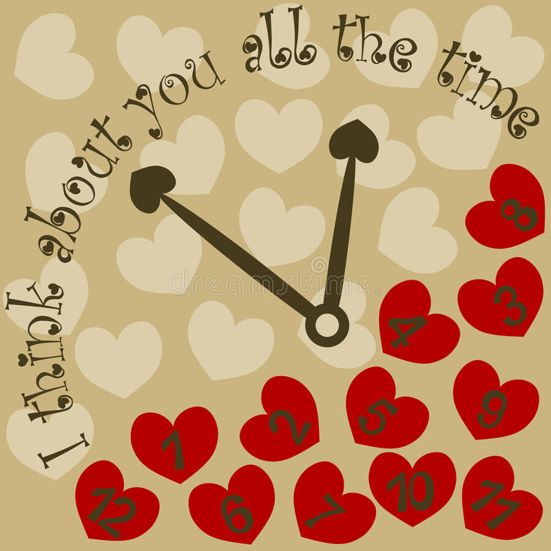 I Think About You All The Time Valentine Clock With Hearts