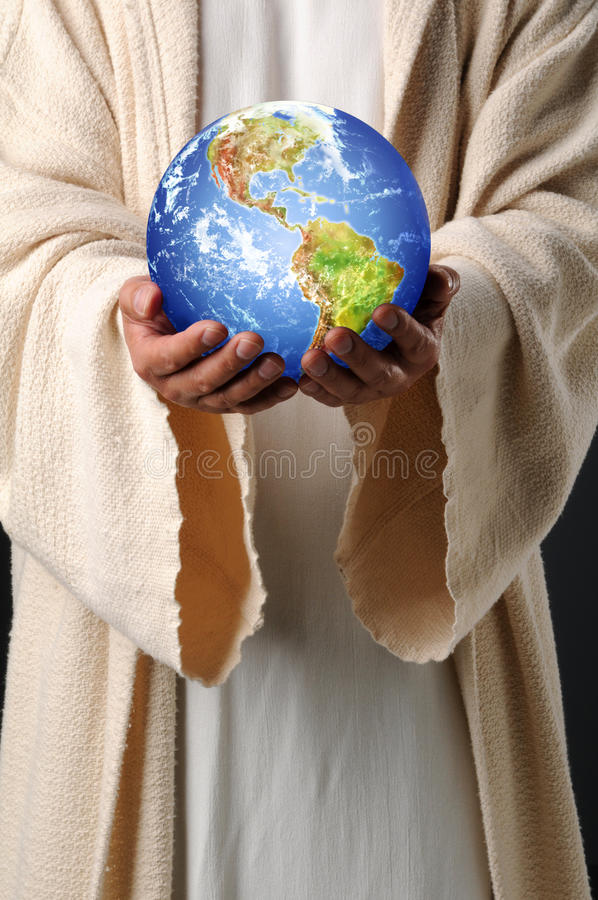 Earth Hands Jesus Holding