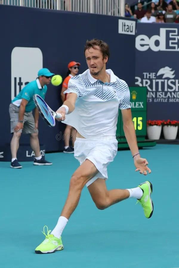 Professional Tennis Player Daniil Medvedev In Action ...