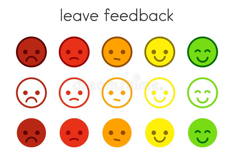 Leave Feedback Satisfaction Scales With Color Smileys Buttons Stock Vector Illustration Of Feedback Satisfaction 127681751